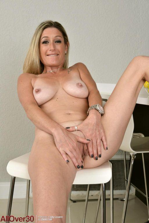 Hot horny blonde cougar in sheer lingerie