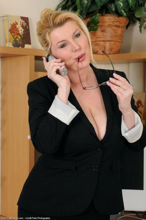 Venice Knight busty blonde secretary strips at off