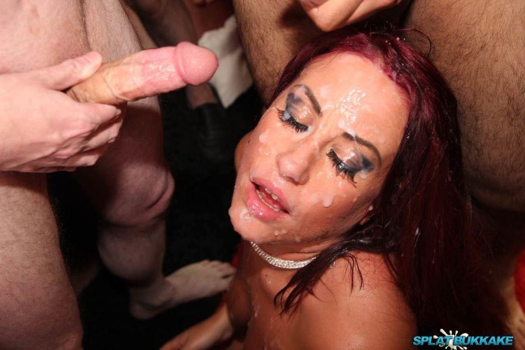 Tyla Moore gets splattered in cum in a sticky bukk