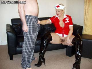 Big titted nurse Daniella English giving head