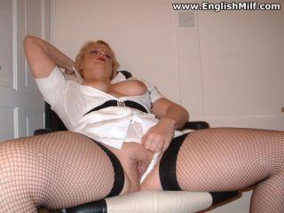 Slutty nurse Daniella English spreads her large as