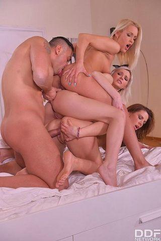 Hot orgy with three slutty maids