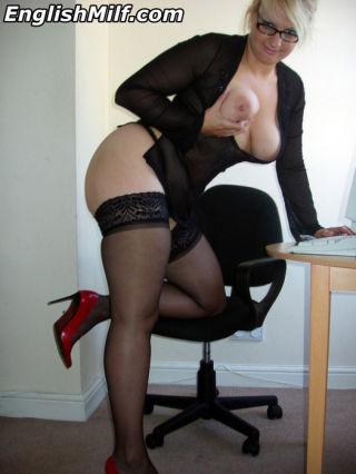 Hot big titted blonde office slut Daniella English