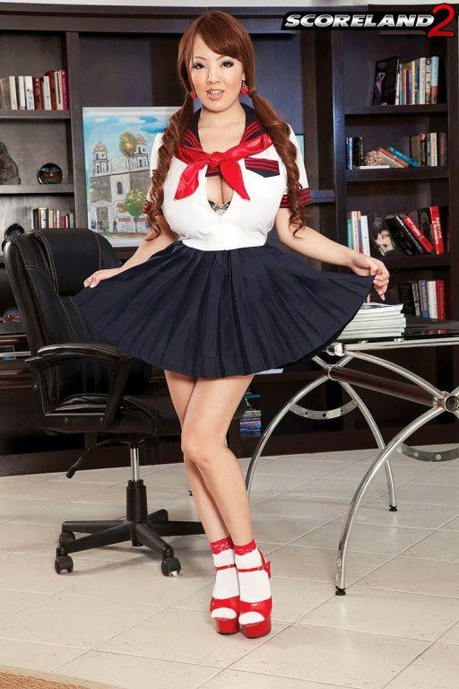 Asian schoolgirl with huge boobs