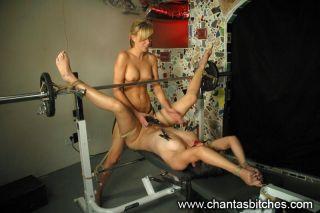 Blonde uses electricity to punish brunette Bobbi S