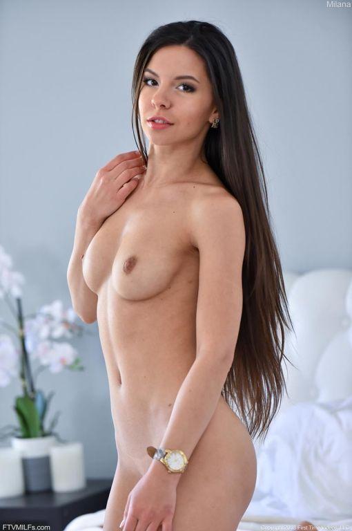 Hot horny fit brunette in lingerie