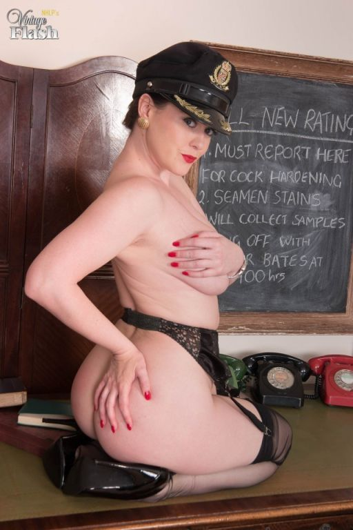 Brook Little in navy uniform and sheer black FF ny