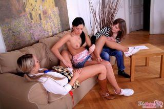 Teens Karina and Stefani seduced by lesbian mature