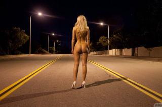 Big titted babe Marketa Pechova flashes at night