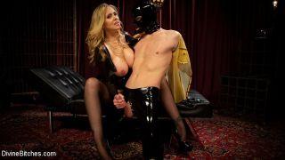 Julia Ann latex goddess dominates and spanks dripp
