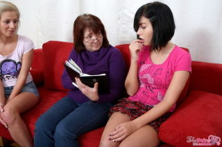 Teens Mia Hilton and Yana seduced by lesbian matur