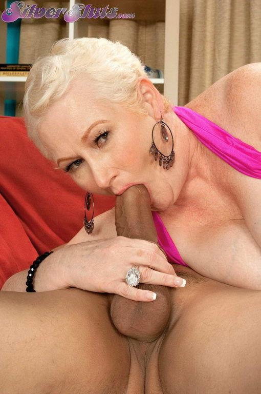 Grandma Miriam Harding licks balls and sucks cock