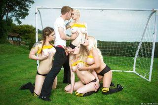European soccer moms deliver reverse gangbang outd