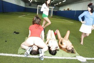 Sporty football girls in wild FIFA 2018 orgy