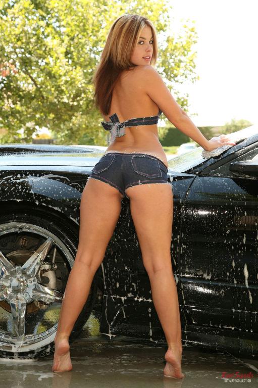 Kari Sweets washing her car in her sexy denim