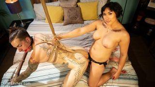 Mia Little asian femdom spanks and strapon fucks b