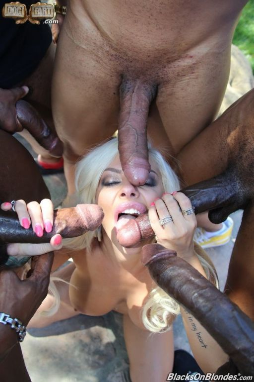 Busty blonde Sara St Clair banged by cocks outdoor