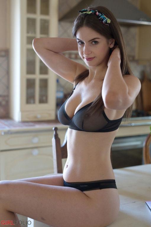 Stella Cox having breakfast in her sheer black und