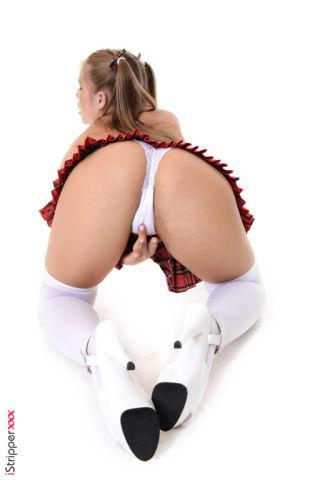 sexy Alessandra Jane schoolgirl stripping