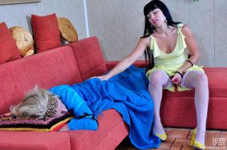 Sleeping sissy slut gets woken up for some profoun