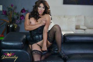 Vaniity in Sexy Black Corset Jerking her Cock