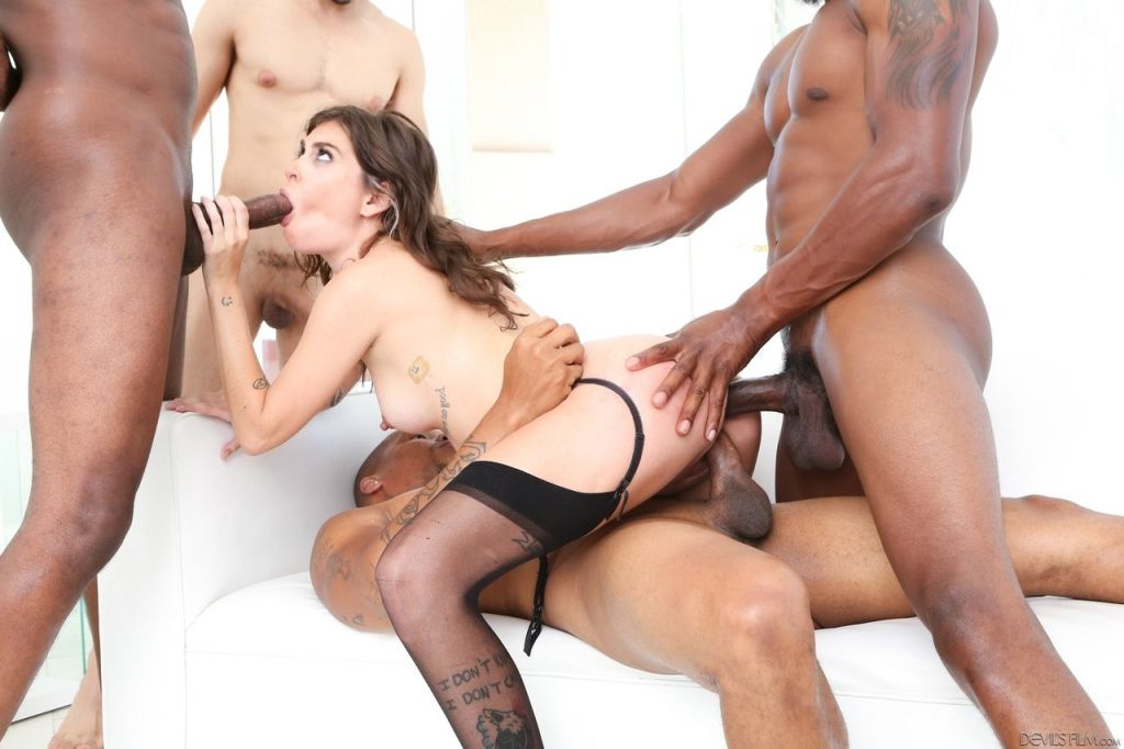 Hardcore DP interracial gangbang with hot Kacie Ca