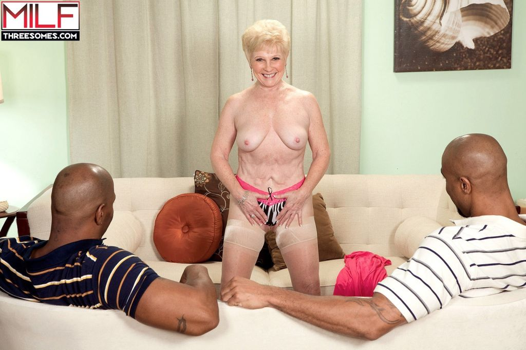Two big black cocks for the golden girl