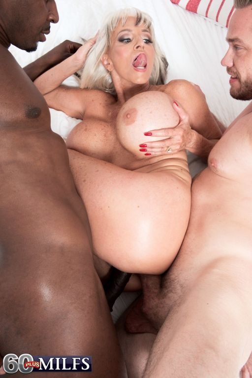 Hot older lady Sally D'Angelo fucks a black and wh