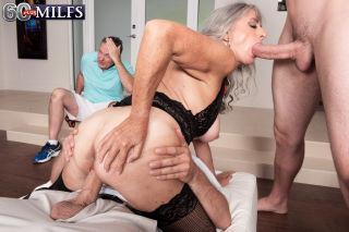 Granny Silva Foxx fucks two men while her cuckold