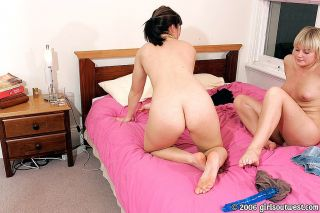 Horny lesbian hotties licking and toying each othe
