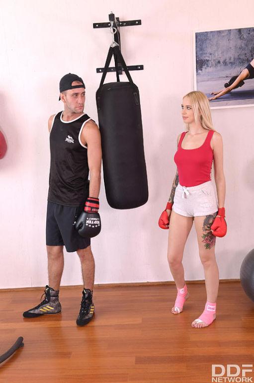 Kickboxing vs. Foot Fucking: Cumshot On Her Sexy F