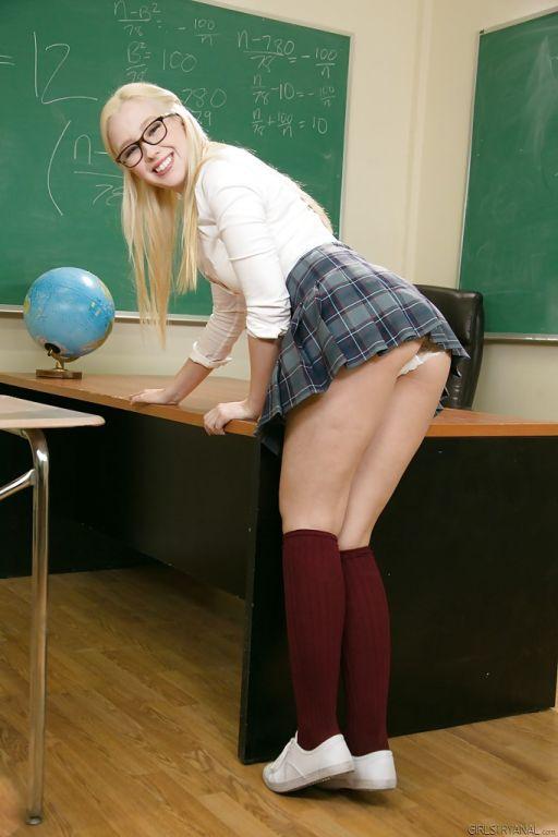 Blonde schoolgirl Samantha Rone slipping panties o
