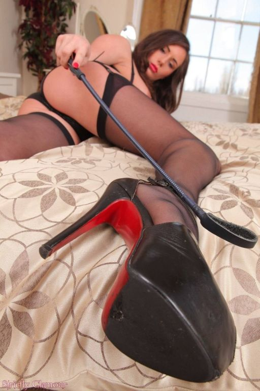 Busty Laura H Emma wears black nylon stockings