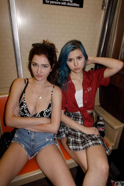 Three horny girlfriends teasing in public