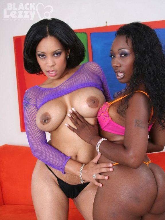 Busty ebony black lesbians are pleasing each other