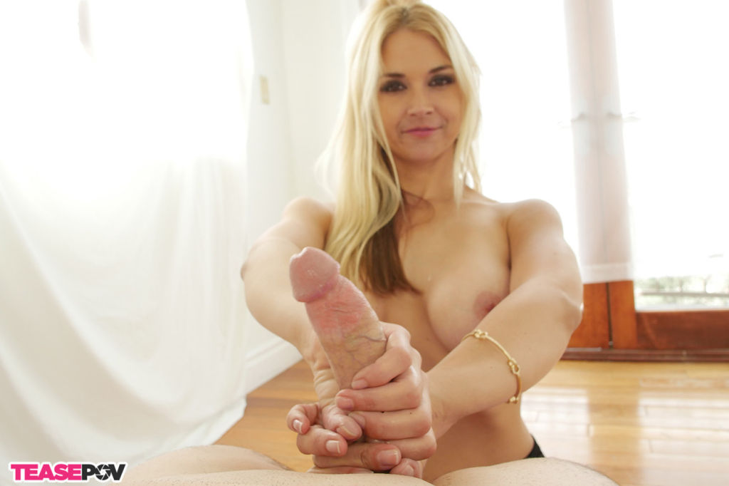 Horny babe Sarah Vandella playing and teasing cock