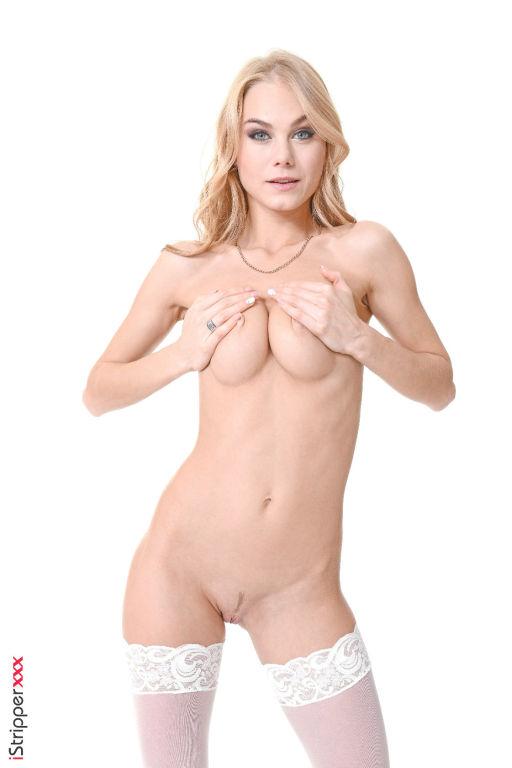 Sexy blonde Nancy A spreads long legs in nylons