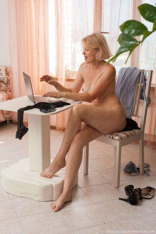 Diana Douglas masturbates at her desk today