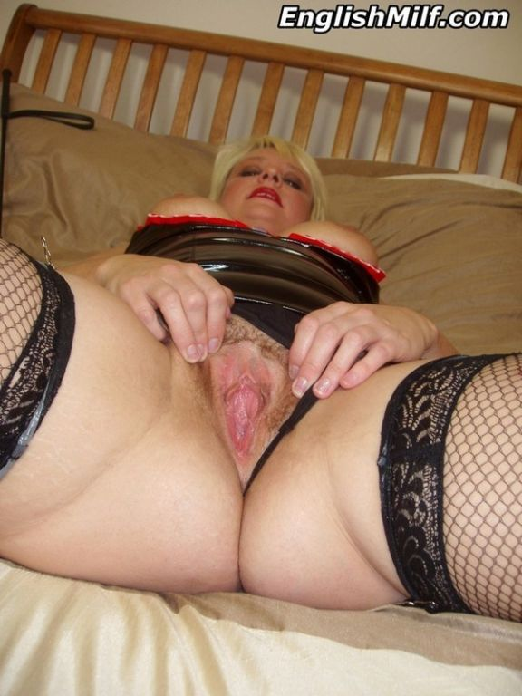 Kinky English MILF in pvc and fishnets