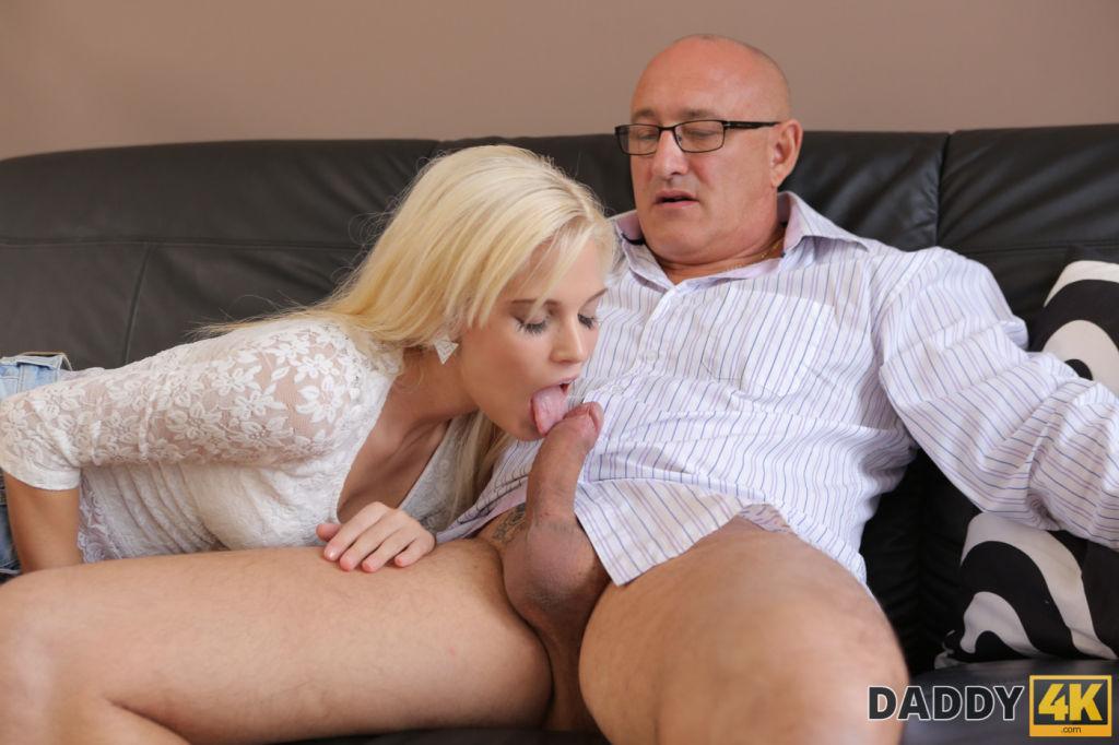 DADDY4K Bald daddy stretches divine blonde Candee