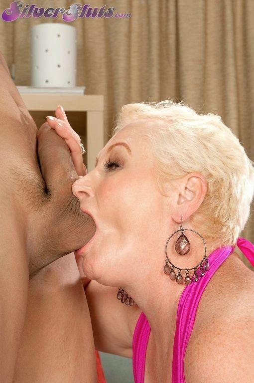 Slutty grandma Miriam Harding sucks a black cock