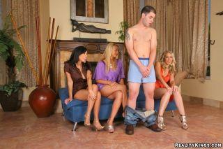 Dressed girls Brianna, Alana and Veronica stroke a