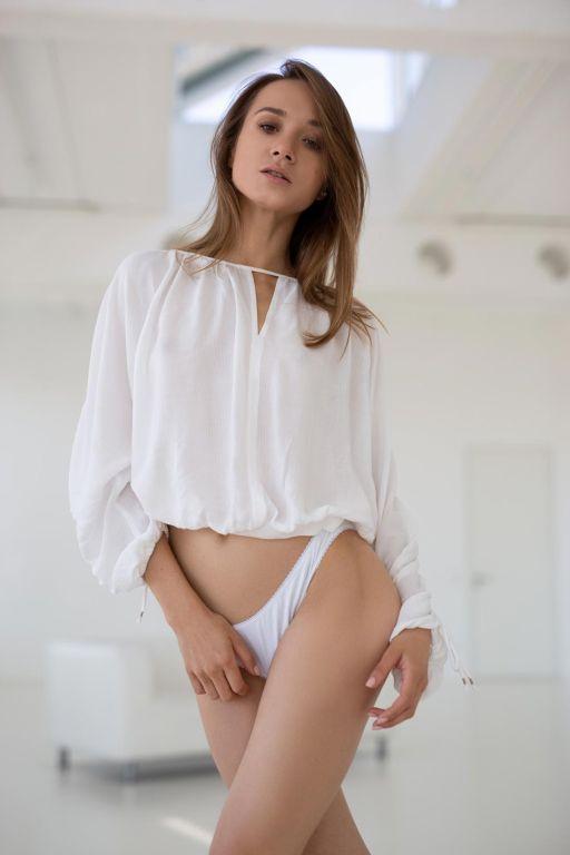 Cute skinny babe posing in underwear