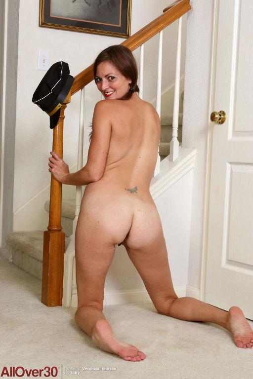 Stunning slim housewife strips
