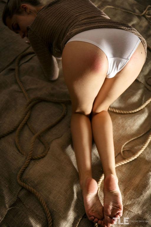 Kinky Bernie inserts her white panty in her lusty