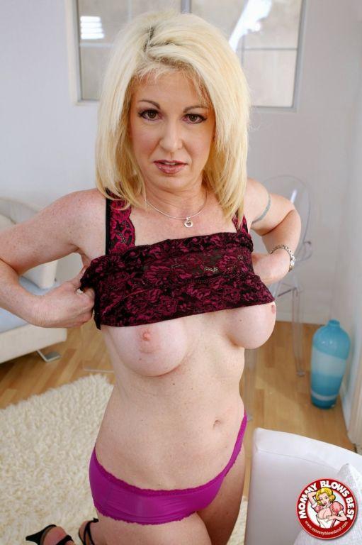 Pink panties blonde MILF showing her unmatched blo