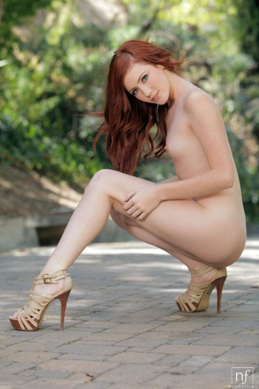The redhead chick Elle Alexandra exposes shaved pu