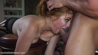 Penny Pax busty stockings redhead is bound in rope