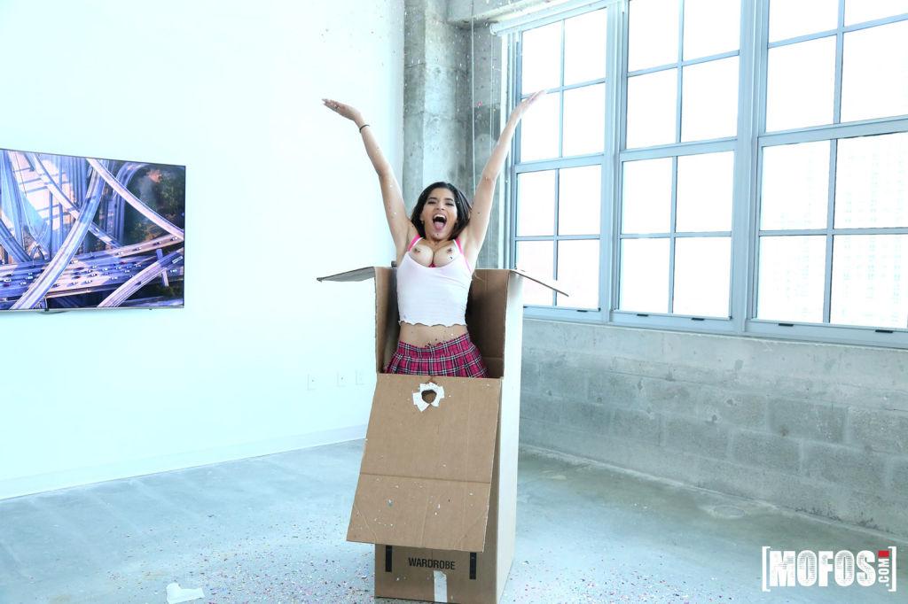 Gabriela Lopez gets her tiny box stuffed with a hu