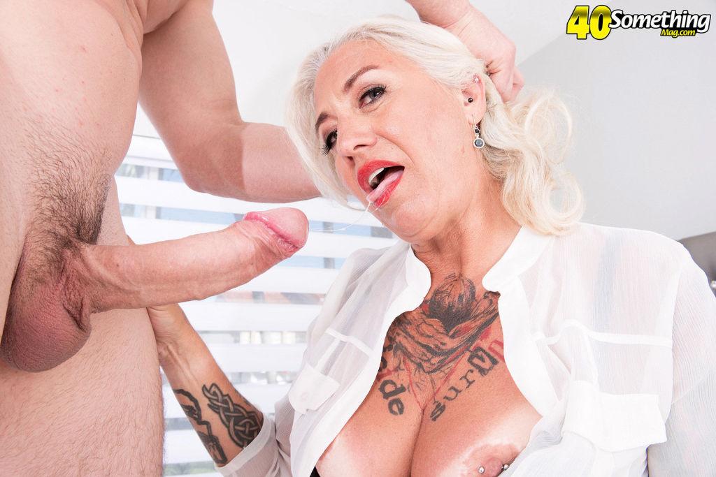 Blonde mature lady Amelia Mack sucking and swallow